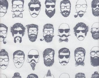Dear Stella Hipster Barbershop in White - Half Yard