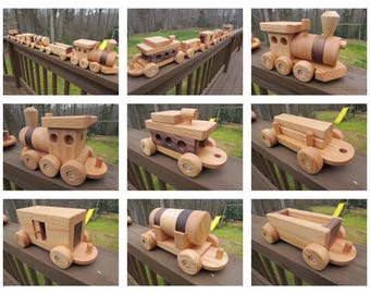 40 off! Last Day! Wooden Train set 6 car Handmade toy oak and mahogany Heirloom Quality  Beautifully hand finished.
