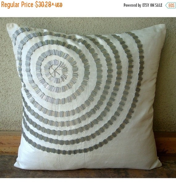 """15% HOLIDAY SALE Luxury  White Decorative Pillow Cover, Spiral Pipe Beads Pillow Covers Square  18""""x18"""" Silk Pillow Covers - Staying Centere"""