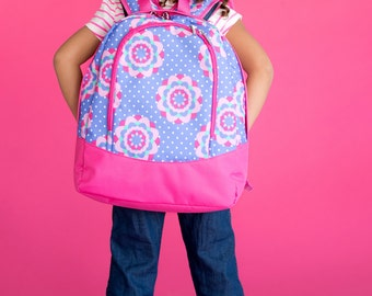 Preschool Size~Zoey Backpack-Flower Backpack-includes Monogram-School Bag-Diaper Bag