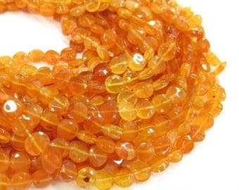 SALE 20% Off Natural Carnelian FIREY Beads 6mm Coin Round, Natural Orange Gemstone Beads