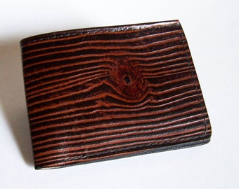 "Men's Leather Wallet - Wood Grain Wallet - Thin Bi-fold with Woodgrain Design - ""A"" Style Interior"