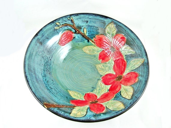 Dogwoods serving bowl, hand etched flower bowl, floral home decor - In stock SB060 I