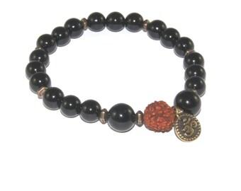 Rudraksha Bead & Black Onyx Mala Bracelet, Meditation or Yoga Bracelet