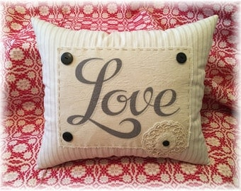 Vintage Style Valentine Love Hand Made Pillow Shabby Lace Antique Buttons