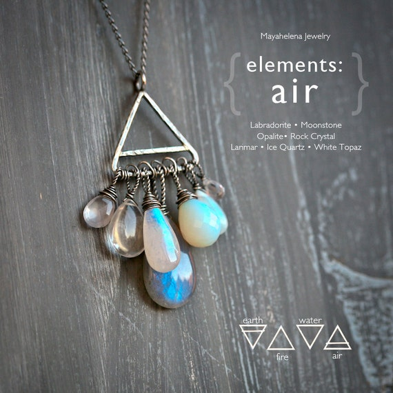 Elements: Air  - Alchemy Symbolism Sterling Silver Pendant Labradorite Moonstone Opalite Rock Crystal Larimar Ice Quartz White Topaz