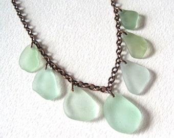 Sea Foam Green Sea Glass Multi Necklace on Oxidized Copper