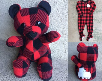 Keepsake Memory Teddy Bear: upcycled from your own fabric, sleepers, baby clothes, outfit, baby blanket, clothing
