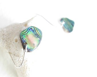 Paua Shell Earrings, Mini Abalone Rainbows, Beachy Earrings, Beach Wedding Jewelry