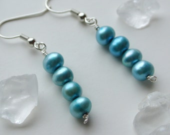 Robins Egg Blue Pearl Dangle Earrings