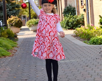 Red Damask Holiday Dress-SALE-size 3T