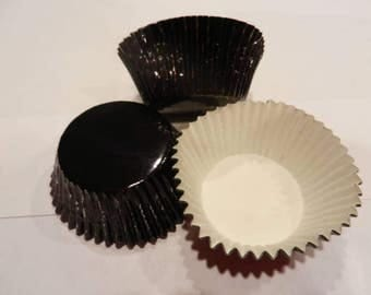 48 Black Foil Cupcake Liners Baking Cups Standard Size Cake Decorations Supplies Jenuine Crafts