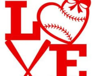 Baseball Love Sports Vinyl Car Decal Bumper Window Sticker Any Color Multiple Sizes Jenuine Crafts