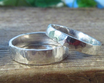 Ring Sterling Silver Wide Band Hammered - Stacking Rings, Finger Jewelry, Knuckle Rings, Thumb Rings, Hammered Rings, Sterling Silver Rings