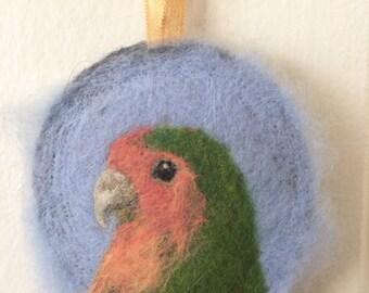 Needle Felted Ornament Medallion Lovebird