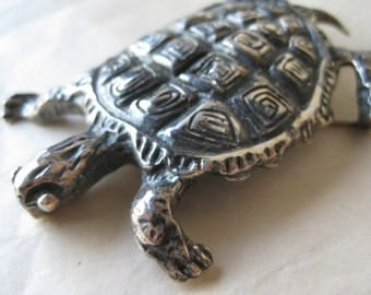 Chunky Turtle Sterling Brooch Silver Vintage Pin 925