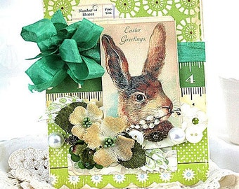 victorian easter card-BUNNY RABBIT greeting card