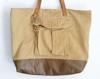 UPCYCLED Cargo Tote Bag. Shopping Bag. Shoulder Bag. Repurposed Shopper Bag. Beach Tote. Ready To Ship.