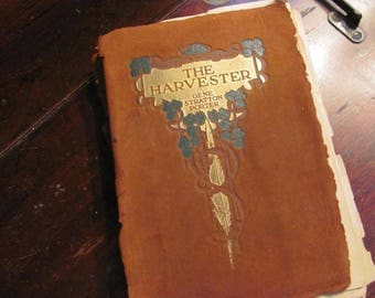 Lovingly Tattered 1900s The Harvester Suede Covered Book, Table Decor