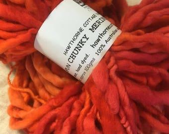 Red and Orange - Merino handspun chunky