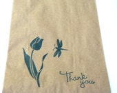 """10 Paper Bags, Thank You, Flower, Dragonfly, Choice of Ink Color, Stamped, Brown Kraft, 7.5"""" x 5"""", Packaging Supplies, Party Favor Bags"""