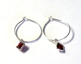 "Delicate Sterling Silver Red Cubic Zirconia Drop Hoop Pierced Dangle Earrings, 1"" Long, Gift for her"