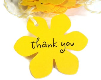 20 Tags, Gift Tags, Thank You, Merchandise, Hang, Yellow, Funky Flowers, Party Favor Tags