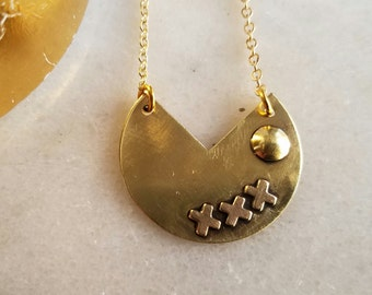 X's and O's Necklace, Gold Brass Pendant, Abstract, Modern Necklace, Geometic