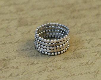 5 Sterling silver scalloped stacking rings, simple, rustic, oxidized, bytwilight