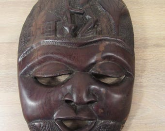 Hand carved African wood mask- wall mountable