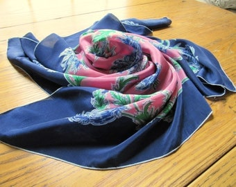 Vintage Silk Scarf, Navy With Salmon/Pink Center, Cornflowers, Bachelor Buttons, Floral Silk Scarf, Blue Silk Scarf, Vintage Silk Scarf