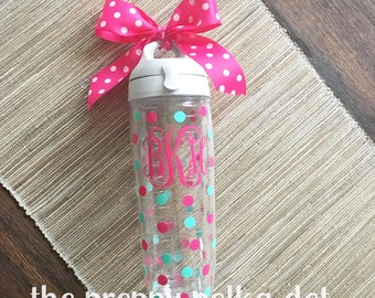 Monogram Personalized Tervis Water Bottle with Polka Dots