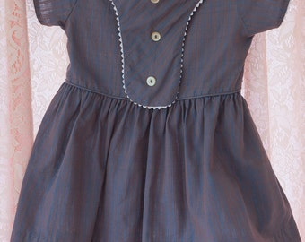 Vintage Girl's Dress  - Plaid Buttons Rick Rack