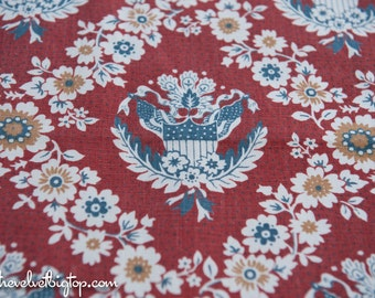 Patriotic and Floral- Novelty Vintage Fabric 60s New Old Stock Stars Stripes Flag