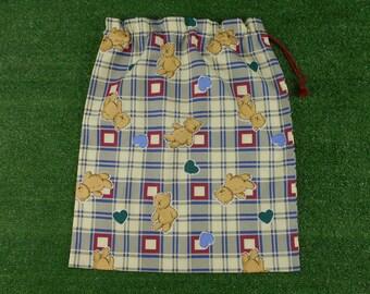 Boys traditional teddies plaid drawstring bag for kindy sheets, toys, storage