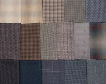 Japanese Yarn Dyed Fabrics - 16 blue fat eighths