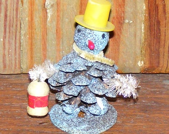 Vintage Charming Spun Cotton Blue Snowman in  Top Hat with Lantern Chenille Trim Japan