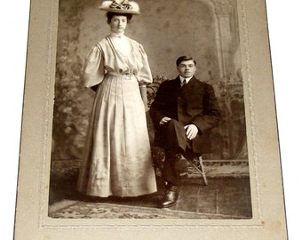 Antique Tall lady in Fancy Victorian Hat Photograph Photo