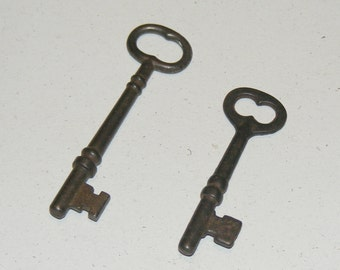 Antique Iron Skeleton Key Lot of 2 Keys