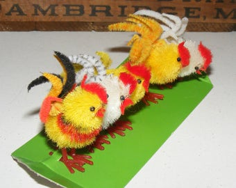 Vintage Chenille Rooster On original card New Old Stock Lot of 5