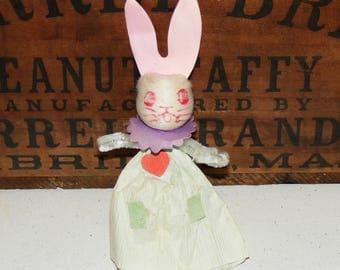 Vintage Chenille Spun Cotton Head  Bunny Girl in Crepe Paper Dress Figure