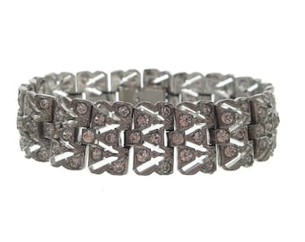 Art Deco Antique Bracelet, Vintage Art Deco Rhinestone, 1920s Antique Art Deco Jewellery, Fine Crystal Statement Wedding Jewelry