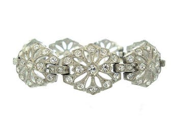 Vintage Art Deco Bracelet, Antique Oval Rhinestone Link, 1920s Fine Antique Wedding Jewelry, Vintage Rhinestone Bridal Bracelets