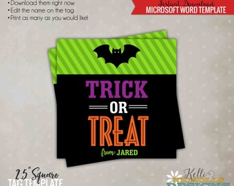 Trick or Treat Halloween Tag, Halloween Candy Bag Tag Template, Printable Instant Download