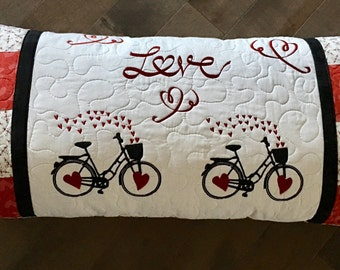 Quilted Bench  Pillow . . . L O V E   . . . Embroidered BICYCLES  . . . Red HEARTS