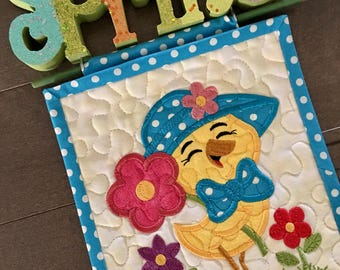 Mini Quilted SPRING Wall Hanging . . . Embroidered CHICK and FLOWERS . . . Celebrating  Spring  . . . Seasonal Decor