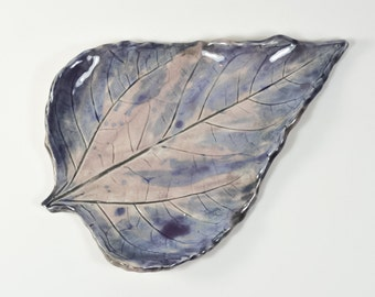 Painterly Blue and Lavender Leaf Tray - Ring Dish - Spoon Rest