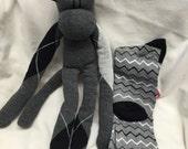 Custom order, 2 long black and gray sock monkeys, sock monkey doll, sock plush