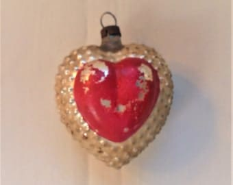 Vintage Glass Figural Bumpy Raised Heart Christmas Tree Ornament Silver And Red Valentines Gift