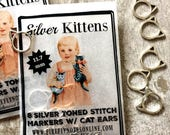 Kitten stitch markers, silver toned